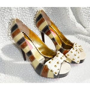 Betsey Johnson bow stripes leather heels shoes